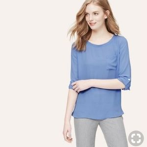 Loft Pocket Blouse in Baby Blue